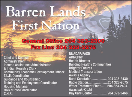 Barren Lands First Nation (204-323-2300) - Annonce illustrée
