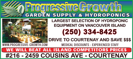 Progressive Growth Garden Supply Ltd (250-334-8425) - Annonce illustrée