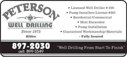 Peterson Robert W Well Drilling Ltd (902-897-2030) - Annonce illustr&eacute;e - Licensed Well Driller # 220 Pump Installers License #361 Residential/Commercial Mini Excavator Pump Installation Guaranteed Workmanship/Materials Since 1975 Hilden - Fully Insured 897-2030 &quot;Well Drilling From Start To Finish&quot; cell: 899-5549