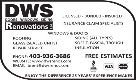 DWS Renovations Ltd (403-936-3686) - Display Ad