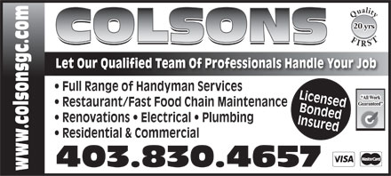 Colson General Contracting (403-830-4657) - Annonce illustrée