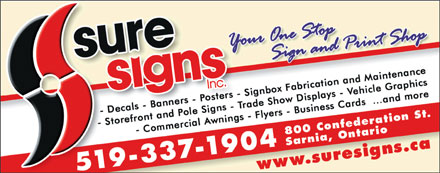 Sure Signs Inc (226-784-0149) - Display Ad