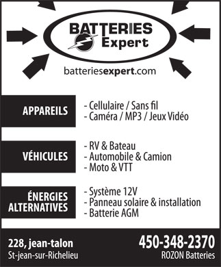 Batteries Expert (450-348-2370) - Display Ad
