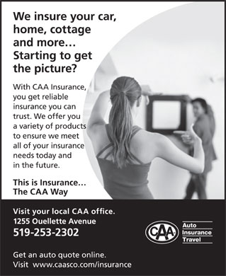 CAA Auto & Property Insurance (519-253-2302) - Display Ad