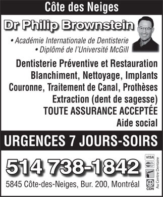 Au Centre Dentaire Philip Brownstein (514-738-1842) - Annonce illustr&eacute;e