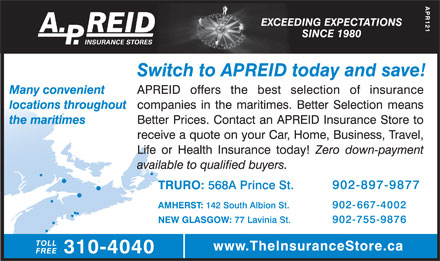 A P Reid Insurance Stores (902-897-9877) - Display Ad