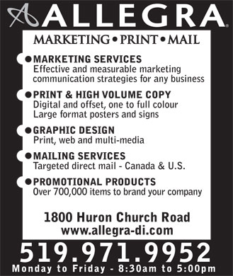 Allegra Marketing Print Mail (519-971-9952) - Display Ad