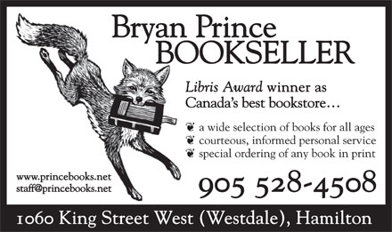 Bryan Prince Booksellers (905-528-4508) - Annonce illustr&eacute;e