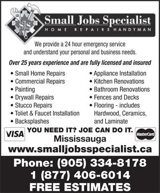 Small Jobs Specialist 6557 Cedar Rapids Cres