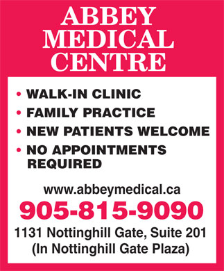 Abbey Medical Centre (905-815-9090) - Annonce illustrée