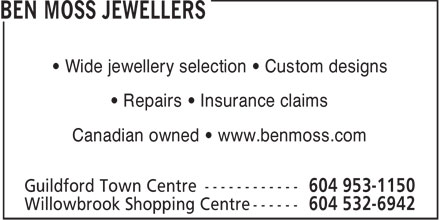 Ben Moss Jewellers (604-953-1150) - Annonce illustr&eacute;e - &bull; Wide jewellery selection &bull; Custom designs &bull; Repairs &bull; Insurance claims Canadian owned &bull; www.benmoss.com  Wide jewellery selection   Custom designs Repairs   Insurance claims Canadian owned   www.benmoss.com  Wide jewellery selection   Custom designs Repairs   Insurance claims Canadian owned   www.benmoss.com  &bull; Wide jewellery selection &bull; Custom designs &bull; Repairs &bull; Insurance claims Canadian owned &bull; www.benmoss.com  Wide jewellery selection   Custom designs Repairs   Insurance claims Canadian owned   www.benmoss.com  Wide jewellery selection   Custom designs Repairs   Insurance claims Canadian owned   www.benmoss.com