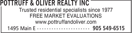 Pottruff & Oliver Realty Inc (905-549-6515) - Annonce illustrée - Trusted residential specialists since 1977 FREE MARKET EVALUATIONS www.pottruffandoliver.com