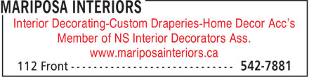 Mariposa Interiors (902-542-7881) - Display Ad