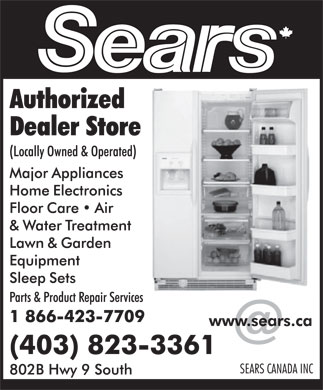 Sears Authorized Dealer Store (403-823-3361) - Display Ad