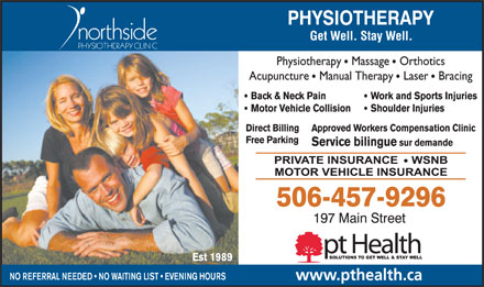 Northside Physiotherapy Clinic/pt Health (506-457-9296) - Display Ad