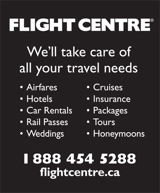 Flight Centre (1-888-454-5288) - Display Ad