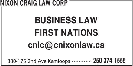 Nixon Craig Law Corp (250-374-1555) - Annonce illustrée - BUSINESS LAW FIRST NATIONS