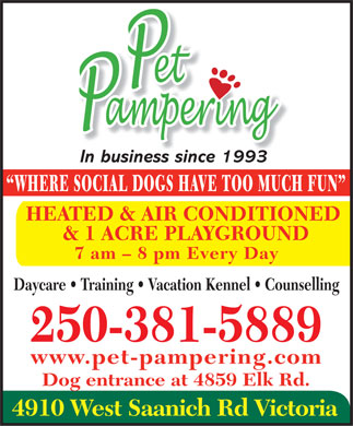 Pet Pampering (250-381-5889) - Annonce illustr&eacute;e