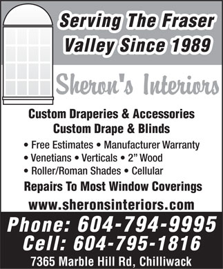 Sheron's Interiors (604-794-9995) - Display Ad