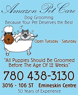 Amazon Pet Care (780-438-3130) - Annonce illustrée - Ama z on Pet Careon Pet Care Dog Grooming Because Your Pet Deserves the Best Open Tuesday - Saturday All Puppies Should Be Groomed Before The Age Of 12 Weeks 780 438-3130 Emineskin Centre3016 - 106 ST 30 Years of Experience