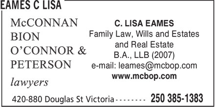 Lisa C Eames (250-385-1383) - Display Ad - WILLS - FAMILY LAW - ESTATES - REAL ESTATE - LAWYERS