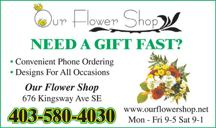 Our Flower Shop (403-580-4030) - Annonce illustrée