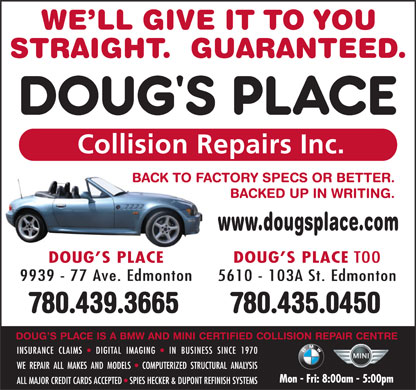 Doug's Place Collision Repairs Inc (780-412-1563) - Annonce illustrée - 780.435.0450780.439.3665