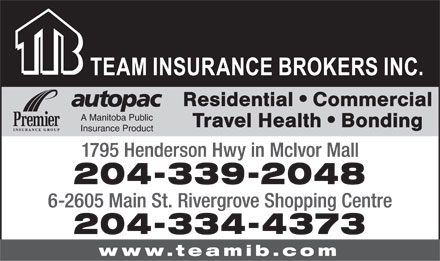 Team Insurance Brokers (204-339-2048) - Display Ad