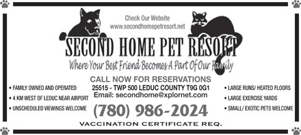 Second Home Pet Resort (780-986-2024) - Display Ad