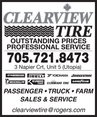 Clearview Tire (705-721-8473) - Display Ad