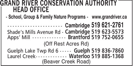 Grand River Conservation Authority (519-621-2761) - Annonce illustrée - - School, Group & Family Nature Programs - www.grandriver.ca (Off Rest Acres Rd) (Beaver Creek Road)