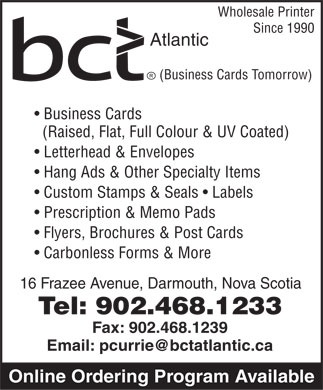 Business Cards Tomorrow (902-468-1233) - Annonce illustrée