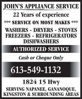 John's Appliance Service (613-549-1132) - Display Ad