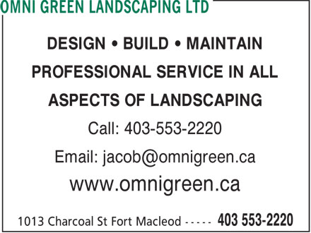 Omni Green Landscaping Ltd (403-553-2220) - Annonce illustrée
