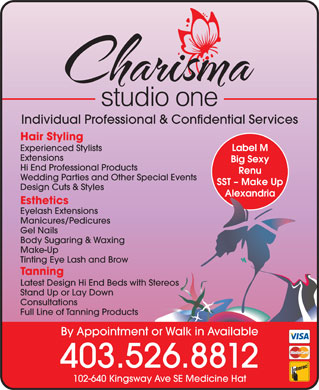 Charisma-Studio One (403-526-8812) - Annonce illustr&eacute;e