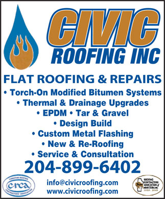 Civic Roofing Inc (204-899-6402) - Annonce illustr&eacute;e