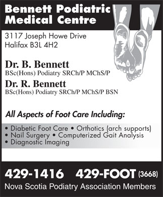 Bennett Podiatric Medical Centre (902-429-1416) - Display Ad