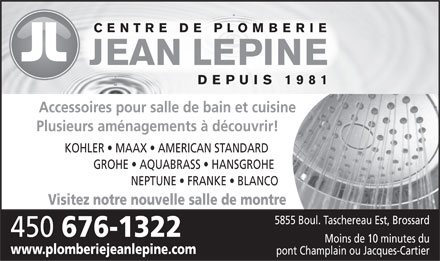 Centre De Plomberie Jean Lépine Inc (450-876-1044) - Display Ad