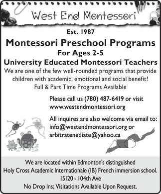 West End Montessori School The (780-487-6419) - Display Ad