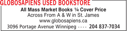 Books Bravo Zulu (204-837-7034) - Annonce illustrée - All Mass Market Books ¼ Cover Price Across From A & W in St. James www.globosapiens.ca  All Mass Market Books ¼ Cover Price Across From A & W in St. James www.globosapiens.ca