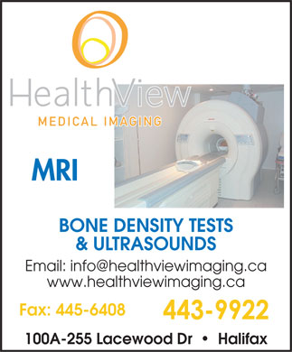 Health View Medical Imaging (902-443-9922) - Annonce illustr&eacute;e