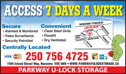 parkway u lock storage 1945 island diesel way nanaimo bc. Black Bedroom Furniture Sets. Home Design Ideas