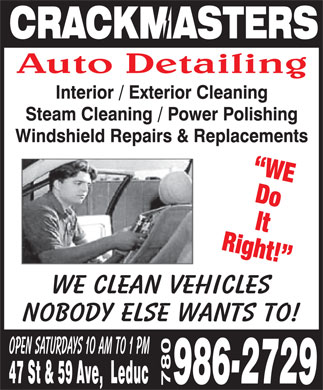 Crackmasters Windshield Repair Replacement & Detailing (780-986-2729) - Annonce illustrée