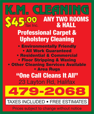 K M Cleaning (902-479-2068) - Display Ad