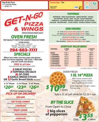 Get N Go Pizza & Wings (204-663-7777) - Menu