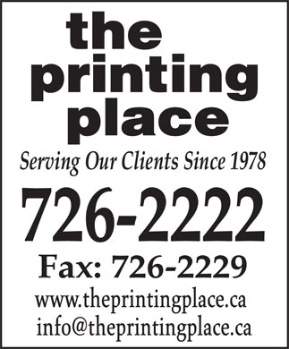 The Printing Place (709-726-2222) - Annonce illustrée - www.theprintingplace.ca www.theprintingplace.ca