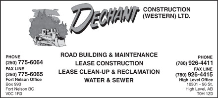Dechant Construction (Western) Ltd (250-775-6064) - Annonce illustrée