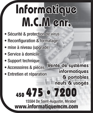 Informatique M C M Enr (450-475-7200) - Display Ad