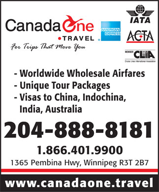 Canada One Travel Planners (204-888-8181) - Annonce illustrée