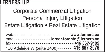 Lerners LLP (416-867-3076) - Annonce illustrée - Corporate Commercial Litigation Personal Injury Litigation Estate Litigation • Real Estate Litigation  Corporate Commercial Litigation Personal Injury Litigation Estate Litigation • Real Estate Litigation  Corporate Commercial Litigation Personal Injury Litigation Estate Litigation • Real Estate Litigation  Corporate Commercial Litigation Personal Injury Litigation Estate Litigation • Real Estate Litigation  Corporate Commercial Litigation Personal Injury Litigation Estate Litigation • Real Estate Litigation  Corporate Commercial Litigation Personal Injury Litigation Estate Litigation • Real Estate Litigation  Corporate Commercial Litigation Personal Injury Litigation Estate Litigation • Real Estate Litigation  Corporate Commercial Litigation Personal Injury Litigation Estate Litigation • Real Estate Litigation